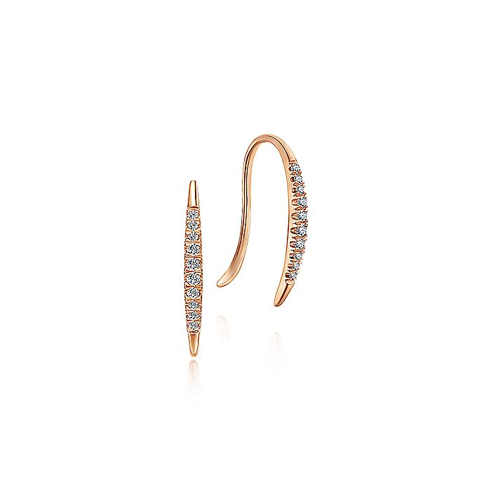 14K Rose Gold Tapered Diamond Threader Drop Earrings