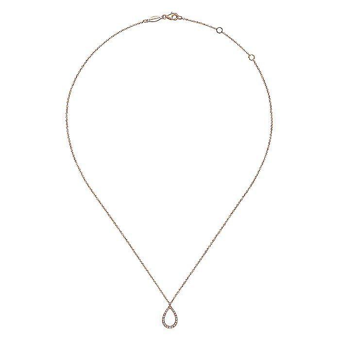 14K Rose Gold Teardrop Diamond Pendant Necklace