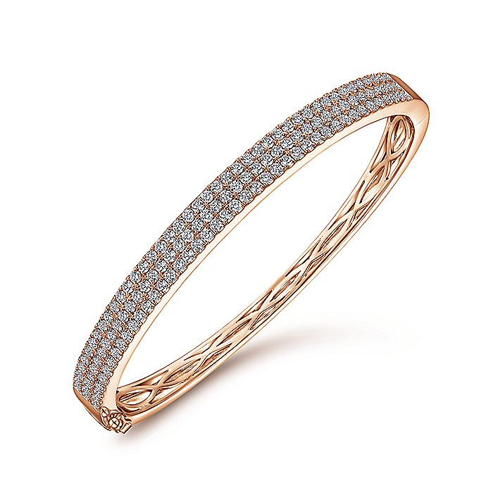 14K Rose Gold Three Row Diamond Bangle
