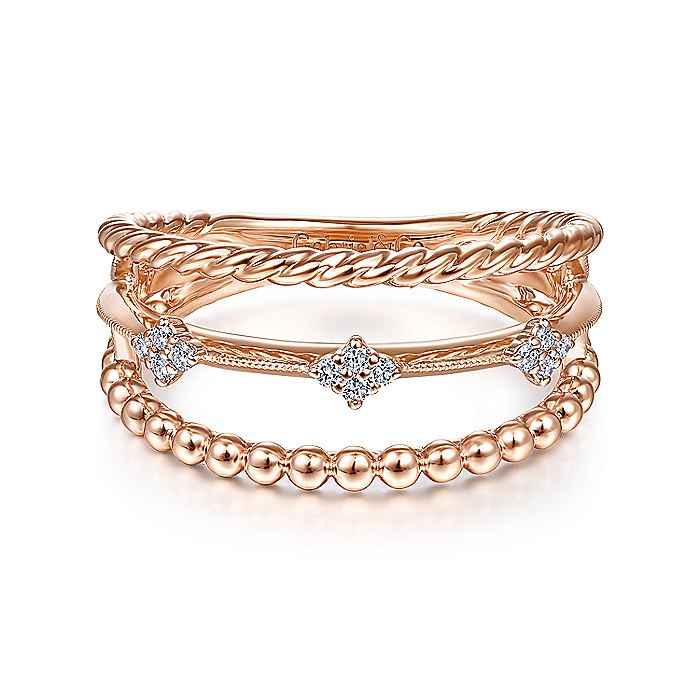14K Rose Gold Three Row Diamond Station Open Ring