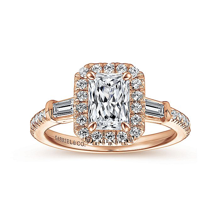 14K Rose Gold Three Stone Halo Emerald Cut Diamond Engagement Ring