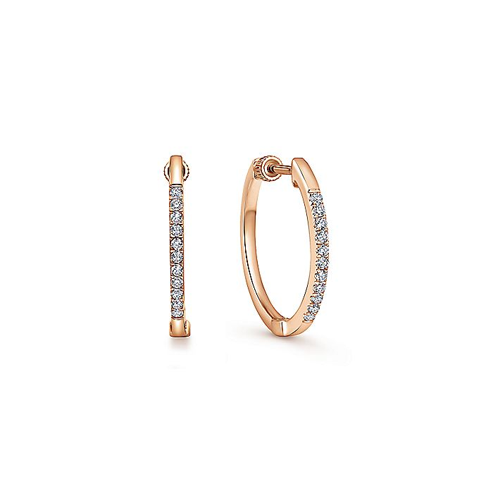 14K Rose Gold Tiger Claw Set 15mm Round Classic Diamond Hoop Earrings
