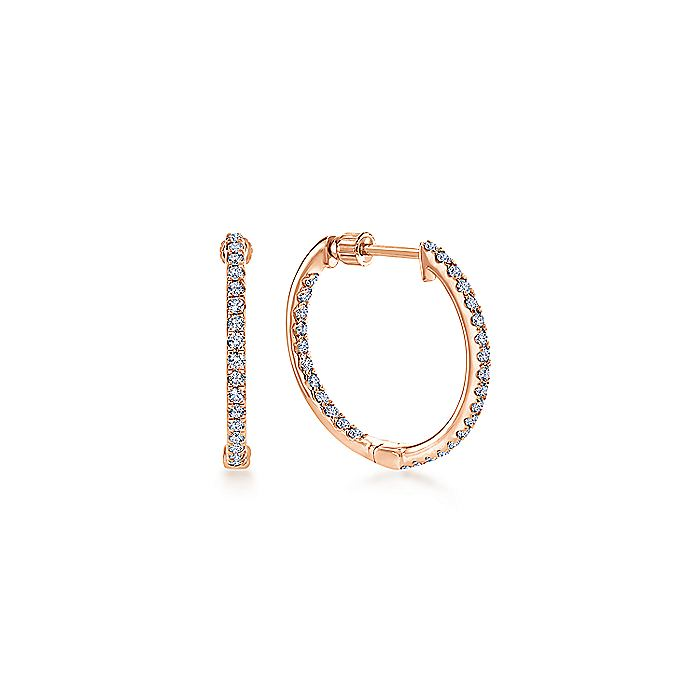 14K Rose Gold Tiger Claw Set 20mm Round Inside Out Diamond Hoop Earrings