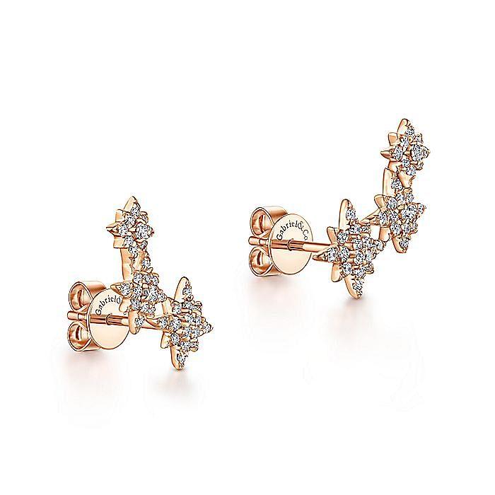 14K Rose Gold Triple Graduating Stars Diamond Stud Earrings