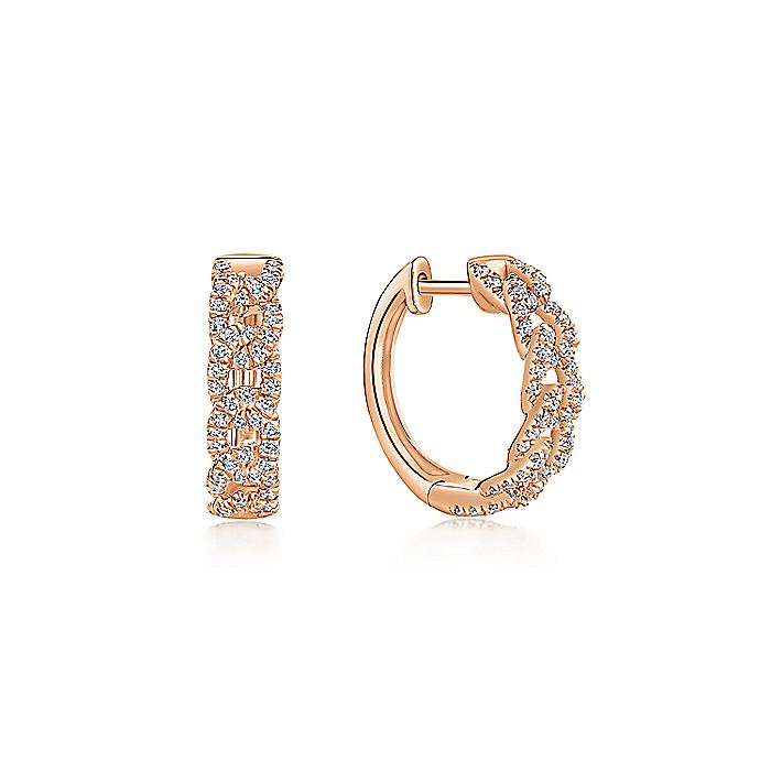 14K Rose Gold Twisted 15mm Diamond Huggie Earrings