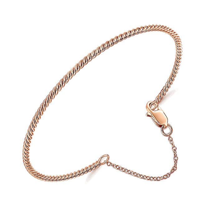 14K Rose Gold Twisted Bangle with Chain Drop
