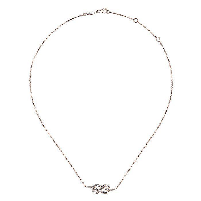 14K Rose Gold Twisted Diamond Love Knot Pretzel Necklace