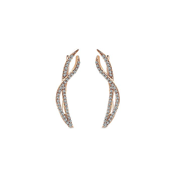 14K Rose Gold Twisted Diamond Ribbon Ear Climber Earrings
