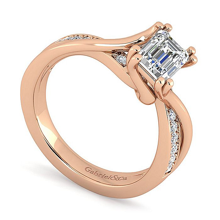 14K Rose Gold Twisted Emerald Cut Diamond Engagement Ring