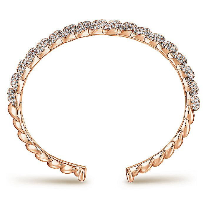 14K Rose Gold Twisted Link Diamond Pavé Cuff Bracelet