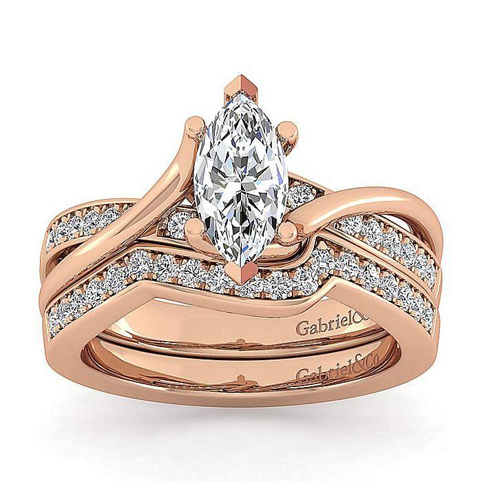 14K Rose Gold Twisted Marquise Shape Diamond Engagement Ring