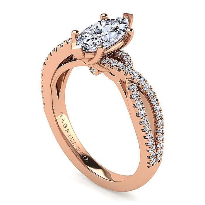 14K Rose Gold Twisted Marquise Shape Diamond Engagement Ring