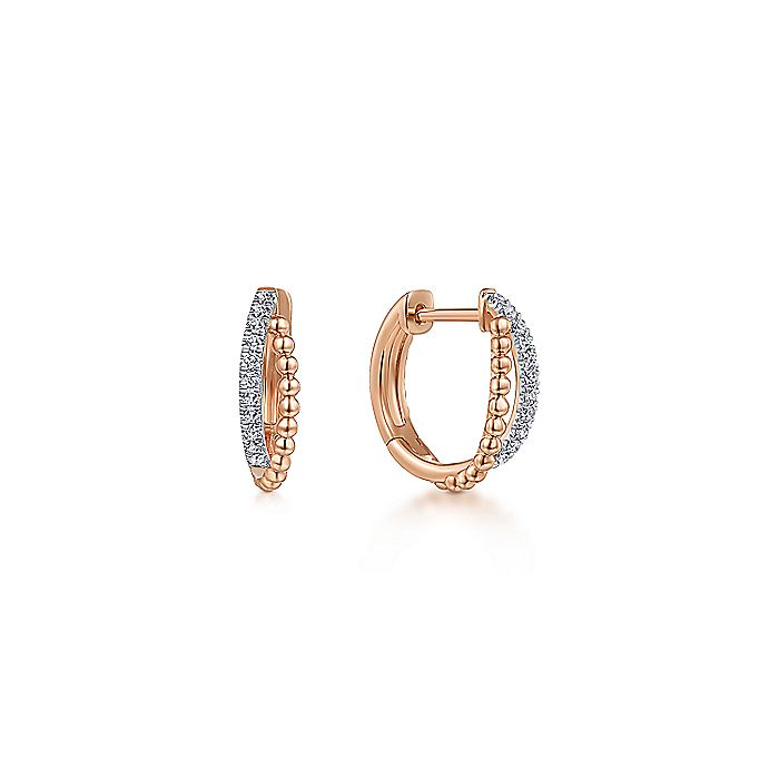 14K Rose Gold Twisted Pavé Diamond Huggie Earrings