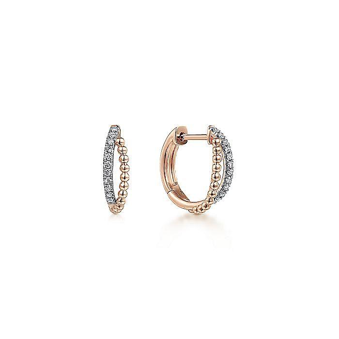 14K Rose Gold Twisted Pavé Diamond Huggies