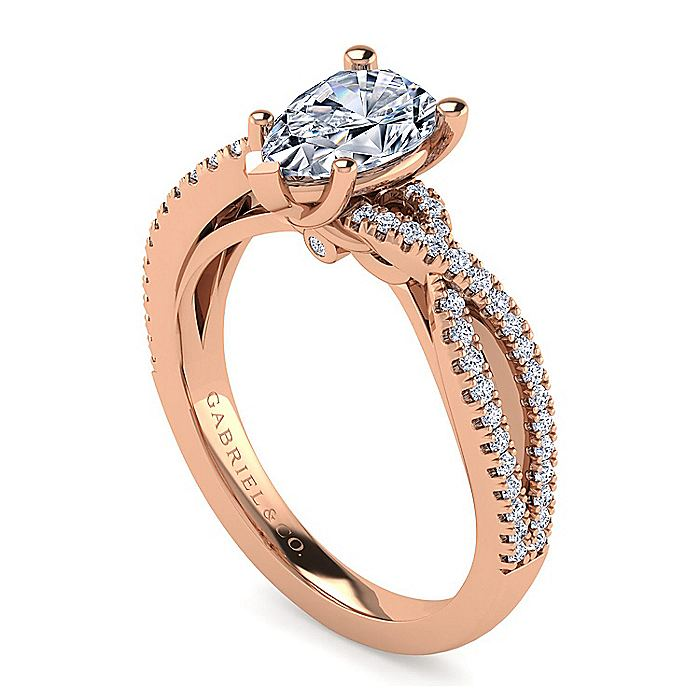 14K Rose Gold Twisted Pear Shape Diamond Engagement Ring