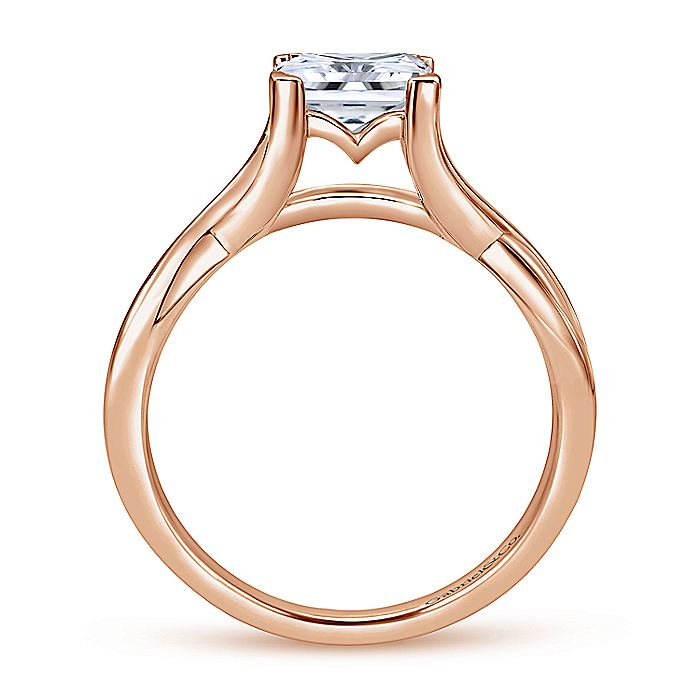 14K Rose Gold Twisted Princess Cut Diamond Engagement Ring