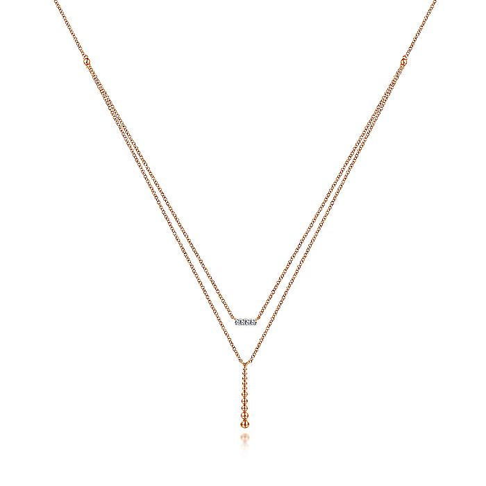 14K Rose Gold Two Strand Diamond Bar and Bujukan Beaded Pendant Necklace
