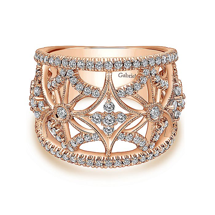 14K Rose Gold Wide Band Openwork Diamond Ring