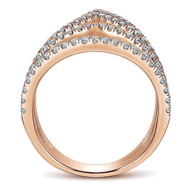 14K Rose Gold Wide Band Pointed Pavé Diamond Ring