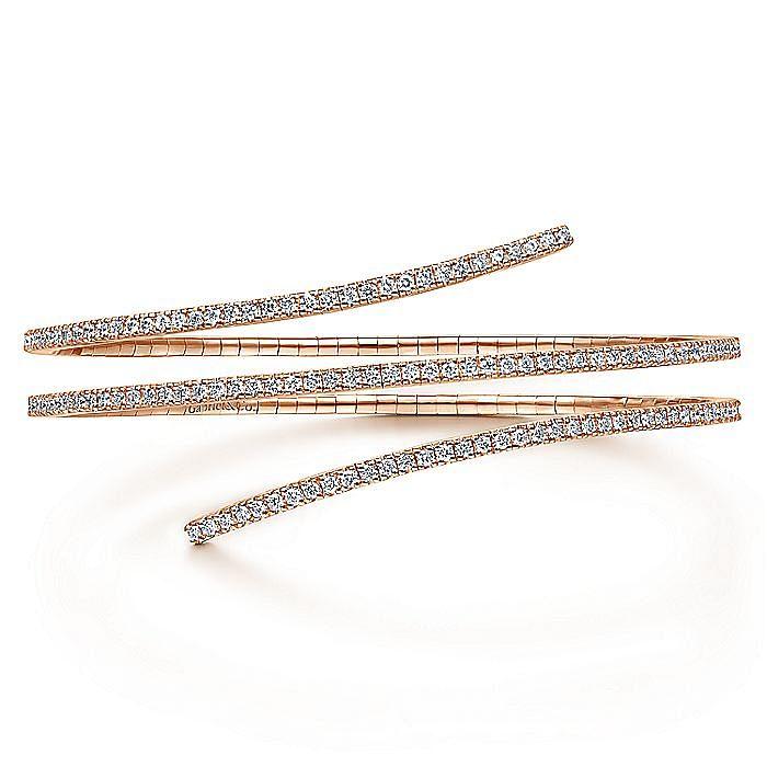 14K Rose Gold Wraparound Diamond Bangle