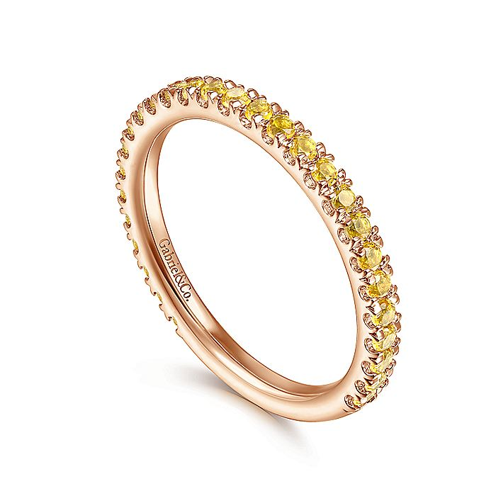 14K Rose Gold Yellow Sapphire Stackable Ring