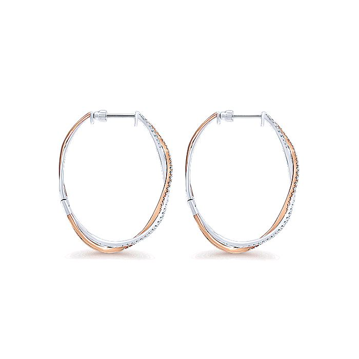 14K Rose-White Gold French Pave 40mm Round Twisted Diamond Hoop Earrings