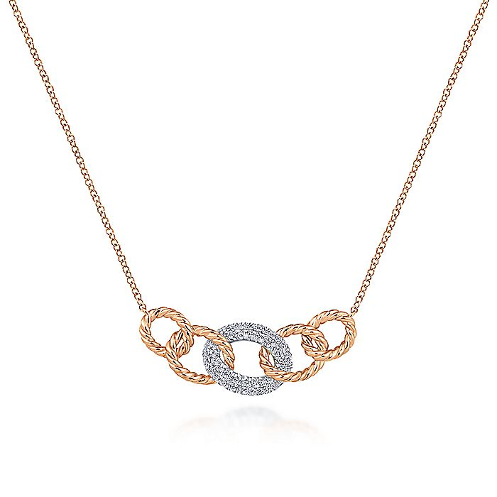 14K Rose-White Gold Twisted Rope Link Necklace with Pavé Diamond Link Station