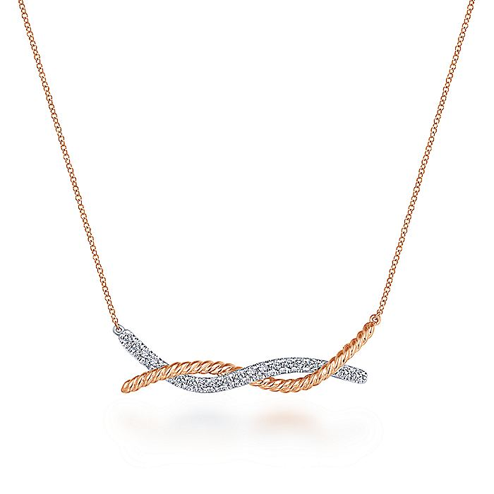 14K Rose-White Gold Twisted Rope and Pavé Diamond Bar Necklace