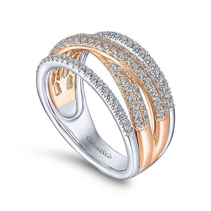 14K Rose and White Gold Criss Crossing Multi Row Diamond Ring