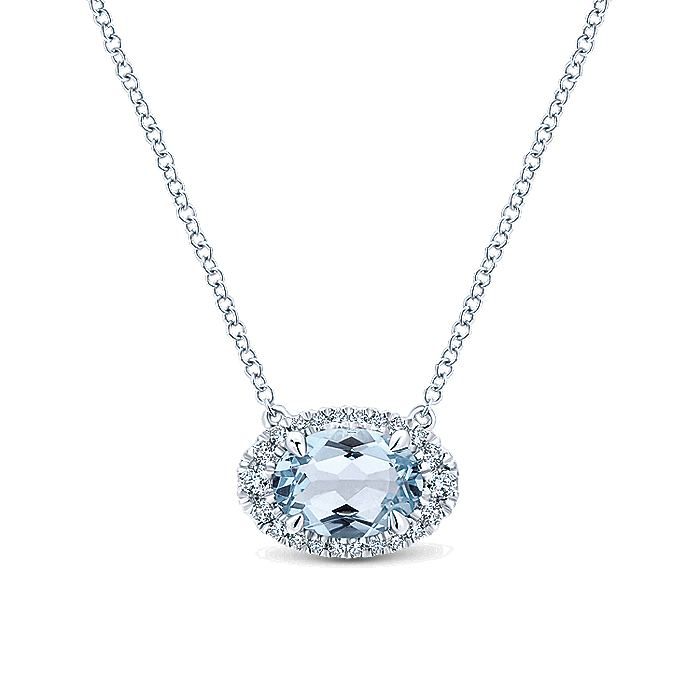 14K White Gold  Oval Halo Aquamarine and Diamond Necklace