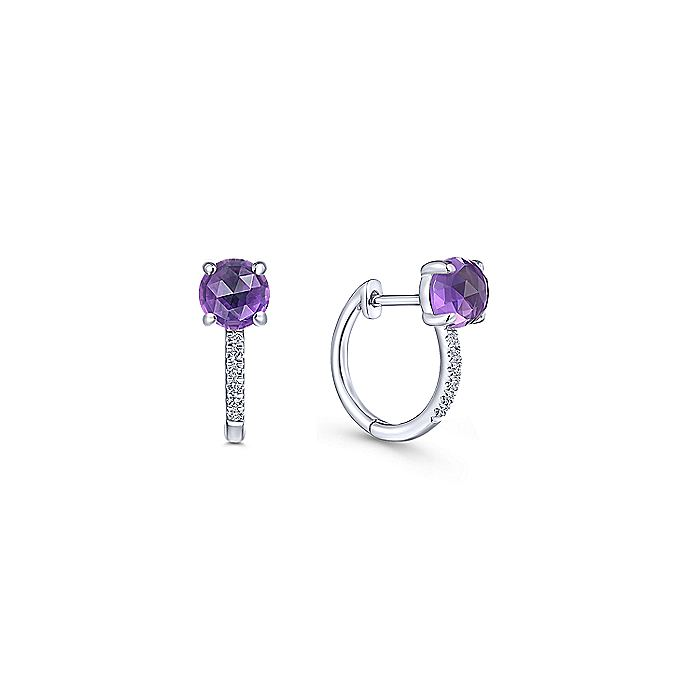 14K White Gold 10mm Amethyst and Diamond Huggie Earrings