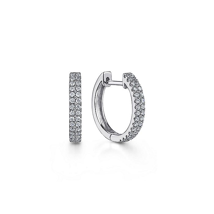 14K White Gold 10mm Diamond Classic Huggie Earrings