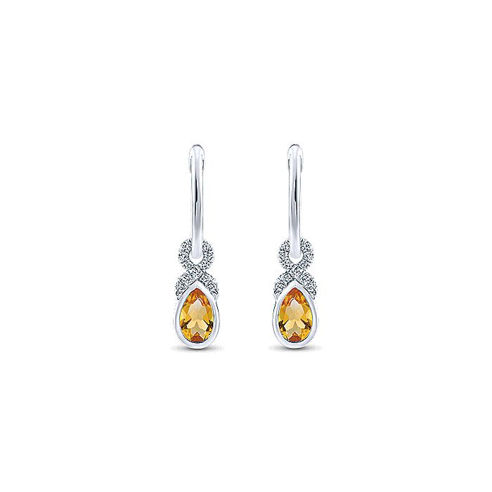 14K White Gold 10mm Diamond and Pear Shaped Citrine Huggie Drop Earrings