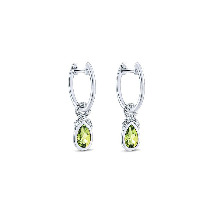 14K White Gold 10mm Diamond and Pear Shaped Peridot Huggie Drop Earrings