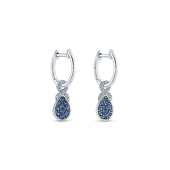 14K White Gold 10mm Diamond and Pear Shaped Sapphire Cluster Huggie Drop Earrings