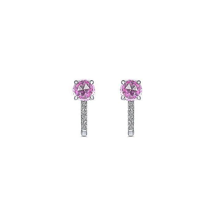 14K White Gold 10mm Pink Created Zircon and Diamond Huggie Earrings
