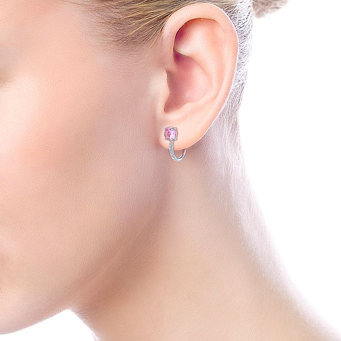 14K White Gold 10mm Pink Zircon and Diamond Huggie Earrings