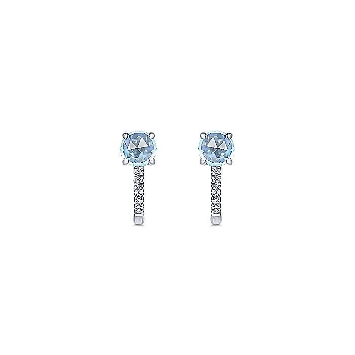 14K White Gold 10mm Sky Blue Topaz and Diamond Huggies