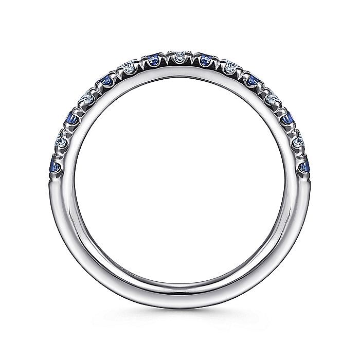 14K White Gold 15 Stone Diamond and Sapphire Anniversary Band