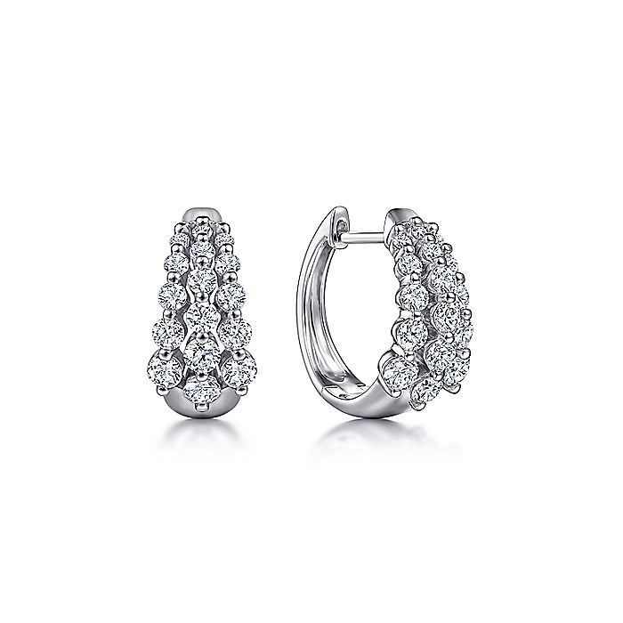 14K White Gold 15MM Diamond Earrings