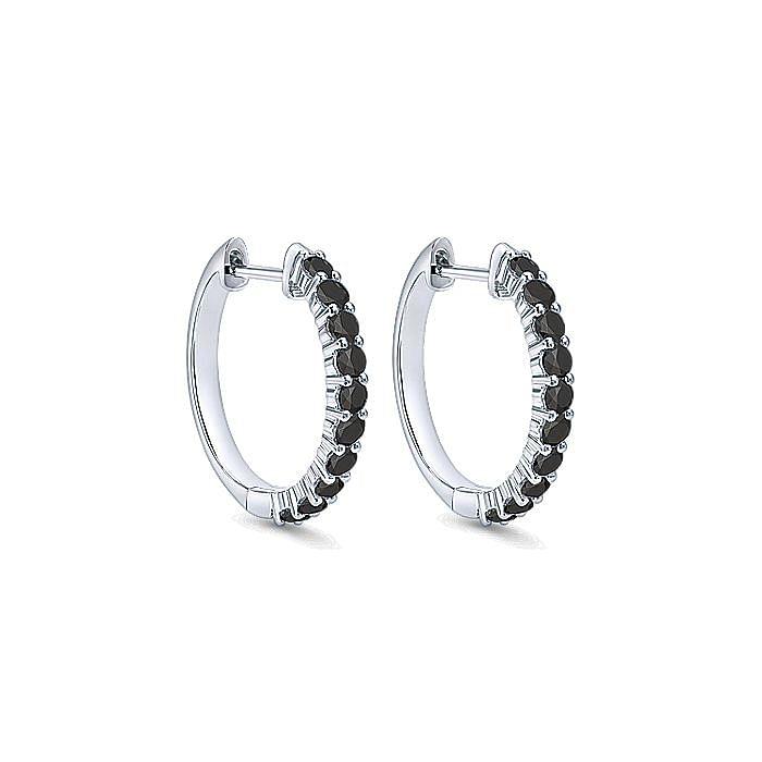 14K White Gold 15mm Black Diamond Huggie Earrings