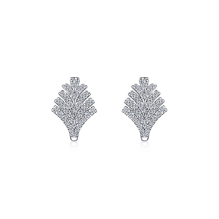 14K White Gold 15mm Chevron Diamond Huggie Earrings