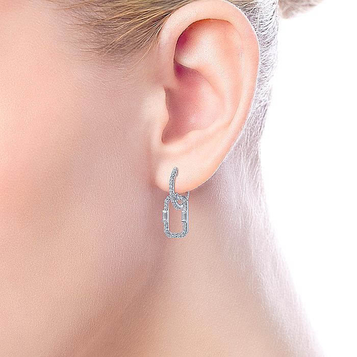 14K White Gold 15mm Diamond Huggie Drop Earrings