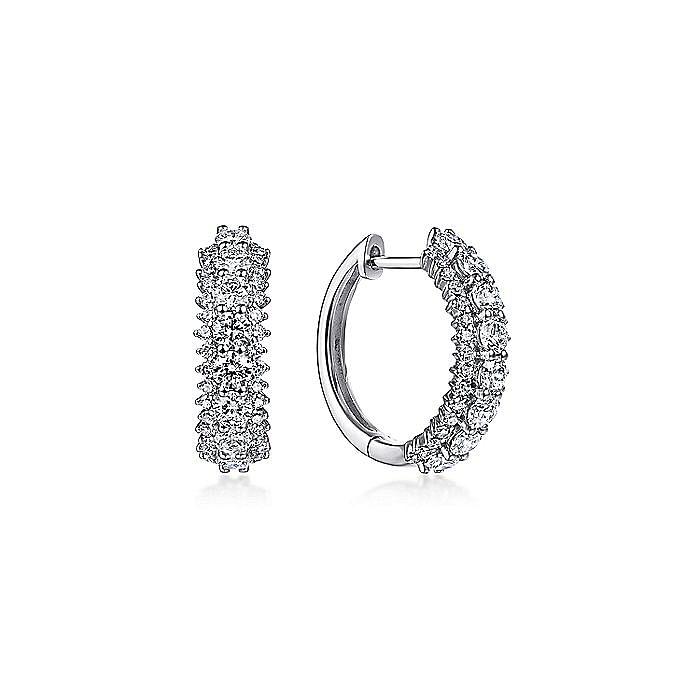 14K White Gold 15mm Diamond Huggie Earrings
