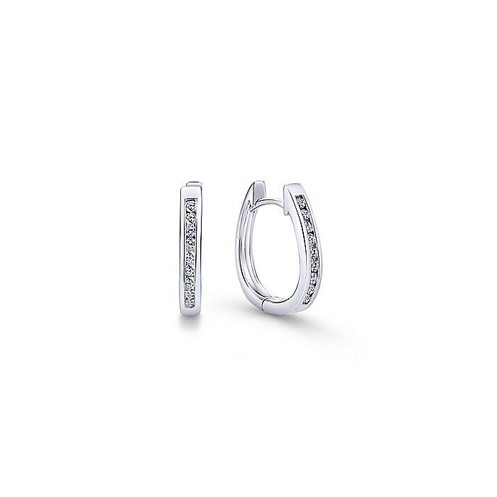 14K White Gold 15mm Diamond Huggie Earrings