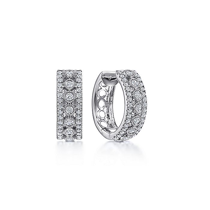 14K White Gold 15mm Diamond Huggies