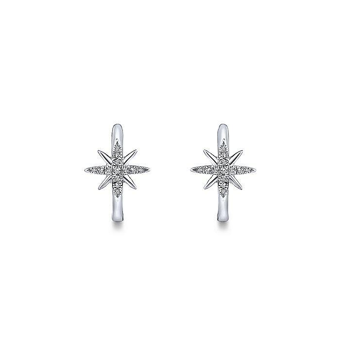 14K White Gold 15mm Diamond and Star Huggies