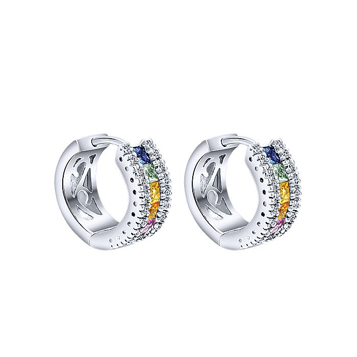 14K White Gold 15mm Green Sapphire and Pink Sapphire and Sapphire and Yellow Sapphire and Ruby and Diamond Huggie Earrings