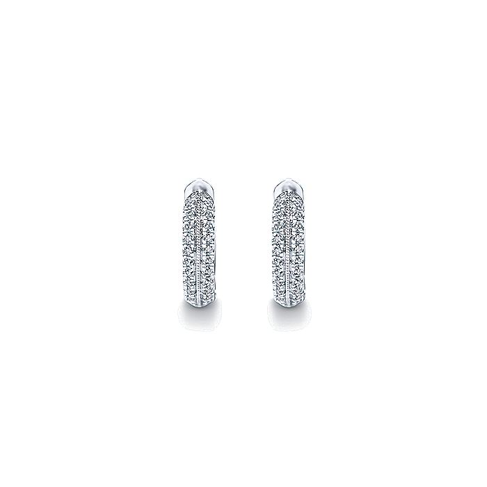 14K White Gold 15mm Milgrain Diamond Huggie Earrings