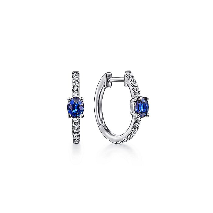 14K White Gold 15mm Oval Sapphire and Diamond Huggies